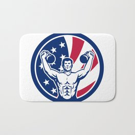 American Physical Fitness USA Flag Icon Bath Mat
