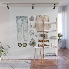 watercolor sketch. fashion outfit, casual style. Wall Mural