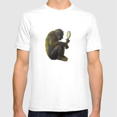 Monkey in the Mirror White MEDIUM Mens Fitted Tee