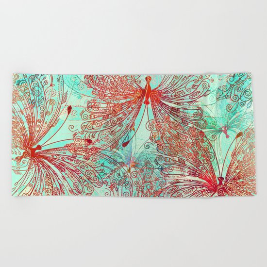 Butterfly Pattern Beach Towel