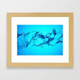Blue Halftone Waves Framed Art Print