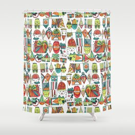 Jolly Character Sketch Shower Curtain