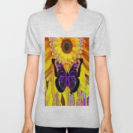 YELLOW SUNFLOWERS BLACK FANTASY BUTTERFLY ABSTRACT Unisex V-Neck