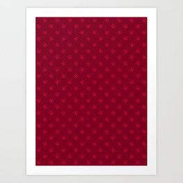 Crimson Red on Burgundy Red Snowflakes Art Print