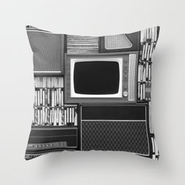 Everything Retro (Black and White) Throw Pillow