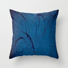 Navy Blue - Jackson Pollock Style - Modern Art Throw Pillow