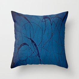 Navy Blue - Jackson Pollock Style - Famous Artists - Abstract Painters - Modern Art - Corbin Henry Throw Pillow