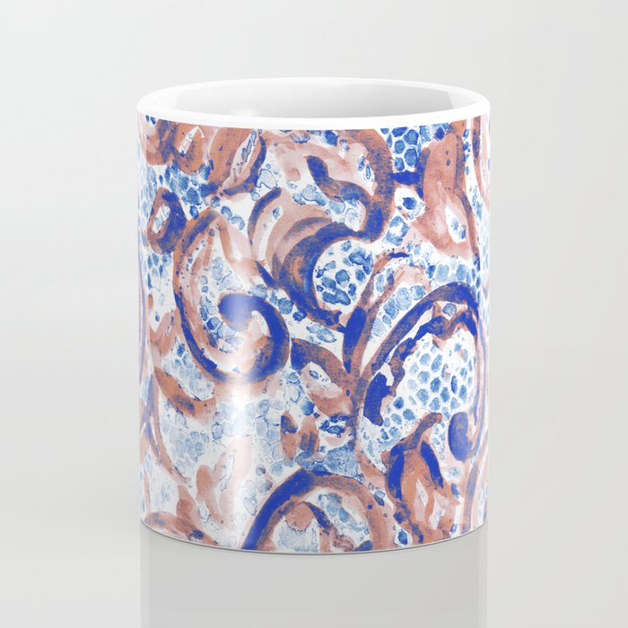 Vintage Lace Watercolor Blue Rust Coffee Mug