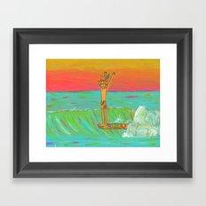 Hang 10 Retro Surf Dude Longboard Surf Framed Art Print