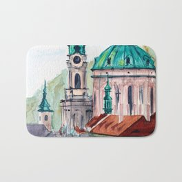 Prague Czech Republic watercolor Bath Mat