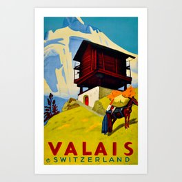 Vintage Valais Switzerland Travel Art Print