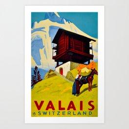 Vintage Valais Switzerland Travel Art Print