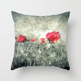 Poppies & Letters Throw Pillow