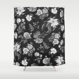 Vintage flowers on black Shower Curtain