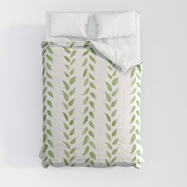 Matcha Greens - nature spring leaves green pattern Comforters
