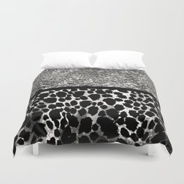 Animal Print Leopard Silver and Black Duvet Cover