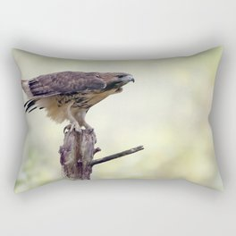 Red-tailed hawk  sitting on a log Rectangular Pillow