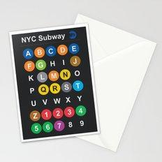 New York City subway alphabet map - dark version Stationery Cards