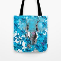 elephant Tote Bags featuring Elephant  by Saundra Myles
