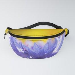 Only One - Blue Cornflower Yellow Bokeh Background #decor #society6 #buyart Fanny Pack