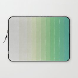 Shades of Ocean Water - Abstract Geometric Line Gradient Pattern between See Green and White Laptop Sleeve