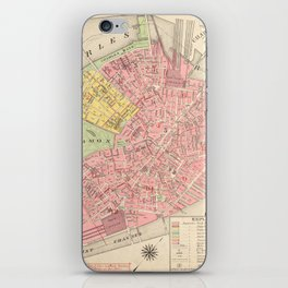 Vintage Map of Boston MA (1876) iPhone Skin