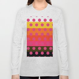 Earth and Summer Sky - Color Strips with Pink Dots Long Sleeve T-shirt