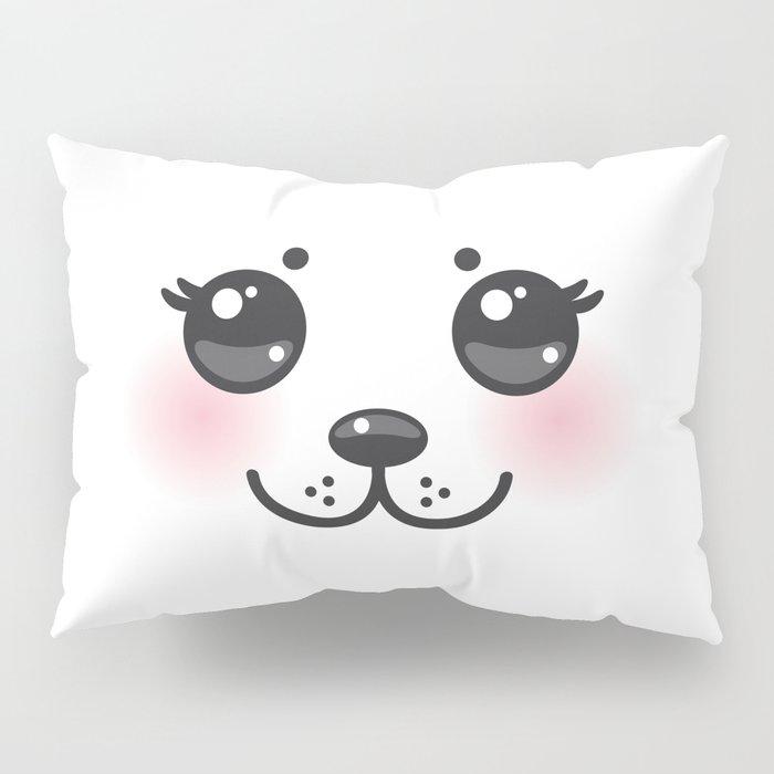 Kawaii funny albino animal white muzzle with pink cheeks and big black eyes Pillow Sham