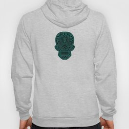 Intricate Teal Blue and Black Day of the Dead Sugar Skull Hoody