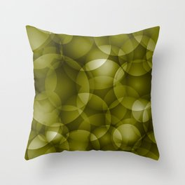 Dark intersecting translucent olive circles in bright colors with an oily glow. Throw Pillow