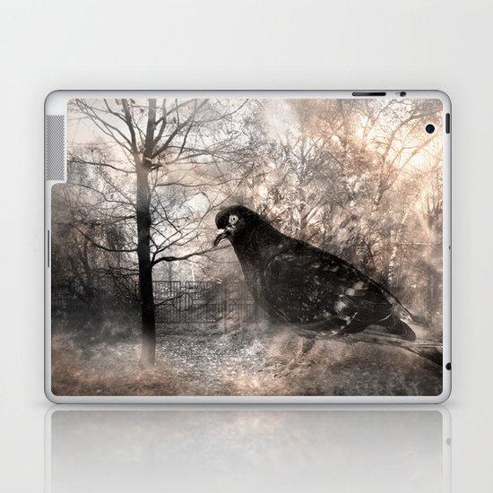 Black bird and the foggy path Laptop & iPad Skin