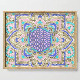 Flower of Life in Lotus Pastels and Gold Serving Tray