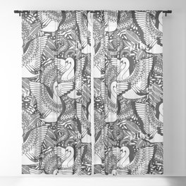 Stylish Swans in Monochrome Black and White Sheer Curtain