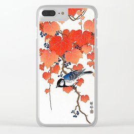 "Ohara Koson,""Bird & Red Ivy"" Clear iPhone Case"