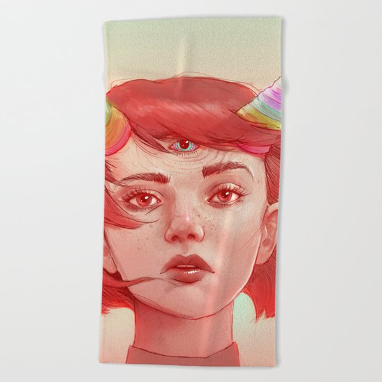Red girl with horns Beach Towel