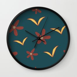 Autumn Flowers and Leaves Wall Clock