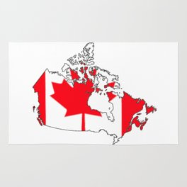 Canada Map with Canadian Flag Rug