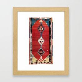 Bijar Antique Kurdish Persian Kilim Print Framed Art Print