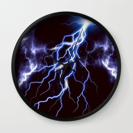 Blue Thunder Colorful Lightning graphic Wall Clock