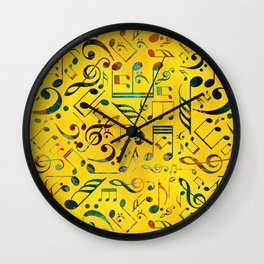 Fun Colorful  Music Notes Pattern on yellow watercolor Wall Clock