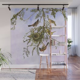 Sky Blue Pink with birds Wall Mural