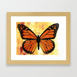 Monarch Butterfly - Antiqued  and Rustic  Framed Art Print