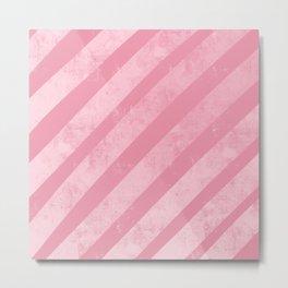 Soft Pink Paint Roller Diagonal Stripes Pattern Metal Print
