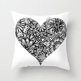 Black and White Mandala Heart Throw Pillow