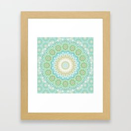 Earth and Sky Mandala in Pastel Blue and Green Framed Art Print