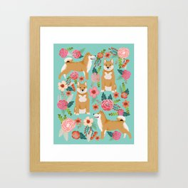 Shiba inu mint florals cute flowers dog breed must have gifts for pet dog lover unique dog breed art Framed Art Print