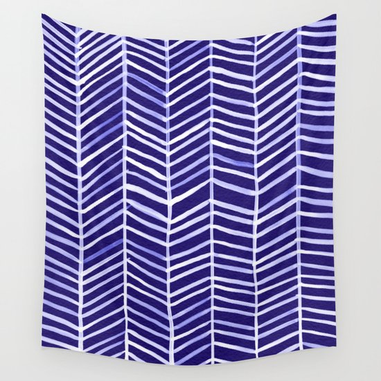 Herringbone – Navy & White Wall Tapestry