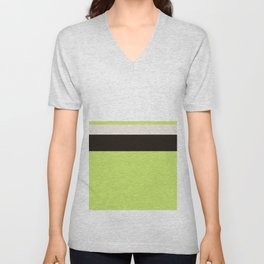 Modern Lime Green Color Block Gray Stripes White Unisex V-Neck