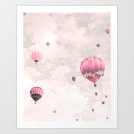 Hot air balloons, violet II Art Print