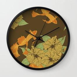 Brown Floral Koi Pattern Wall Clock